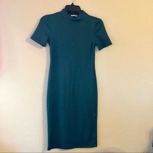 ZARA Deep Green Teal Mock Neck Tight Midi Dress